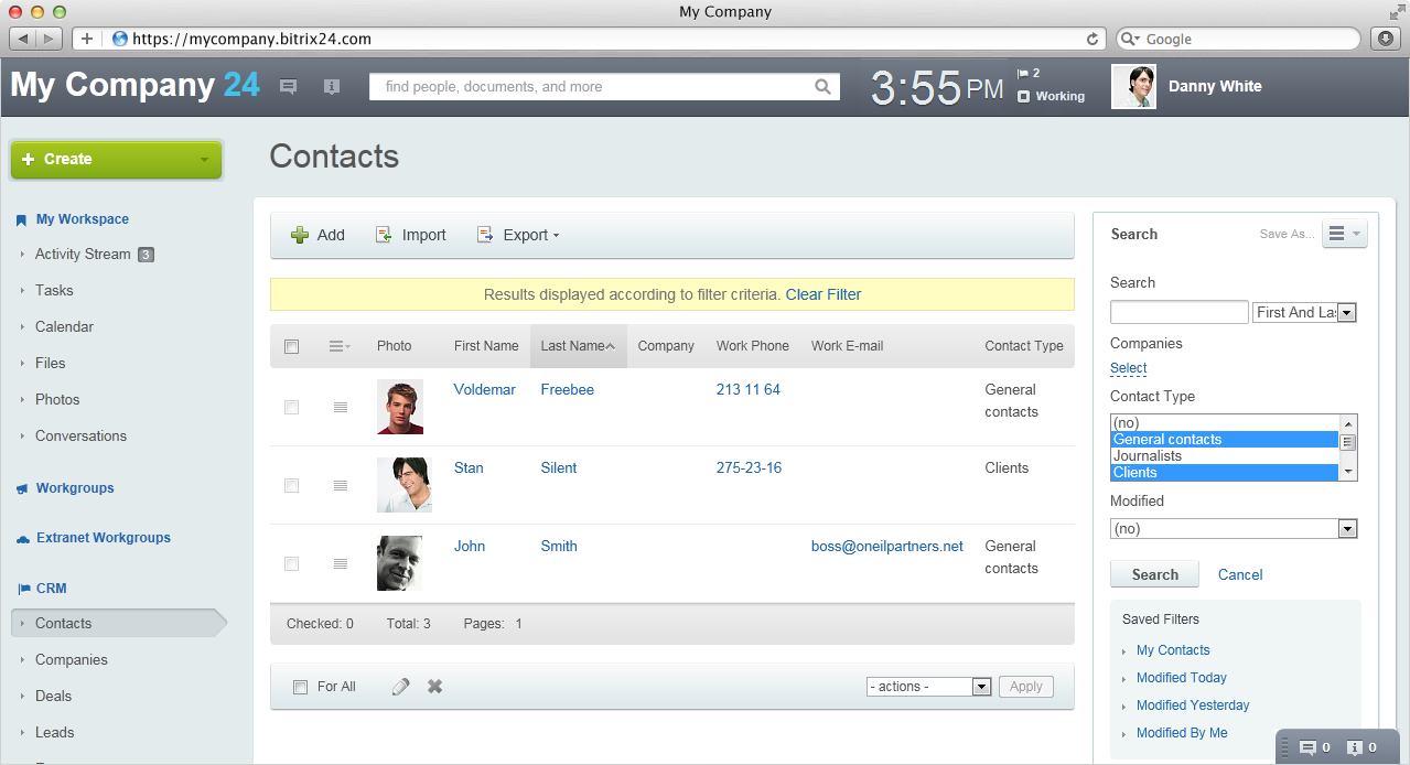 how to add contacts from gmail to bitrix