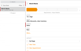 Daylite CRM - Mobile project management feature